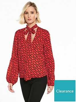 guess-long-sleeve-hazel-printed-top-orange