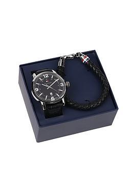 tommy-hilfiger-mens-black-leather-watch-and-black-leather-bracelet-gift-set