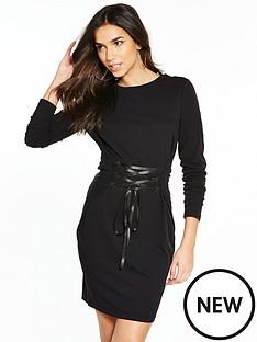 noisy-may-phillipa-long-sleeve-lace-up-dress-black