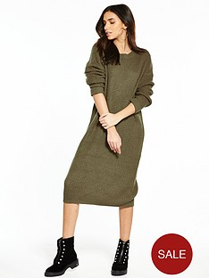 noisy-may-loone-long-sleeve-knit-dress-khaki