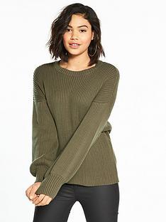 noisy-may-vette-long-sleeve-knit-khaki