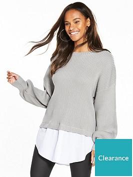 noisy-may-long-sleeve-mix-knit-grey