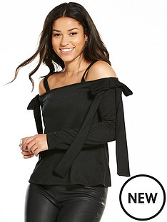 v-by-very-jersey-bow-cold-shoulder-top-black