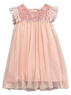 mini-v-by-very-girls-velour-sparkle-mesh-party-dress-pink