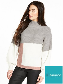 v-by-very-colour-block-turtleneck-jumper