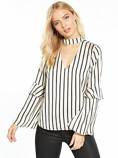miss-selfridge-miss-selfridge-stripe-satin-choker-neck-blouse