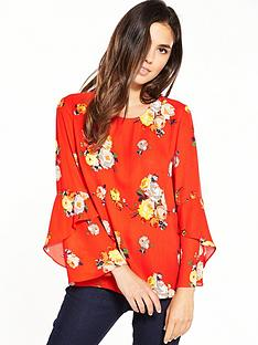 warehouse-victoria-floral-fluted-cuff-top-ndash-orange