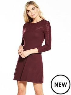 warehouse-pretty-stitch-yoke-dress-berry