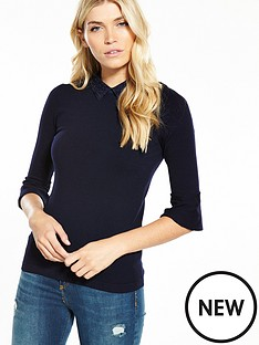 warehouse-lace-collar-jumper-navy