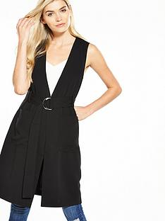 warehouse-d-ring-sleeveless-jacket-black