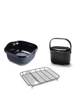 addis-premium-washing-up-bowl-compost-food-caddy-amp-wire-dish-drainer-black-grey