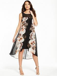 wallis-pansy-split-front-overlayer-dress-black