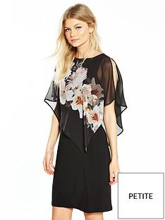 wallis-petite-mono-floral-overlayer-dress