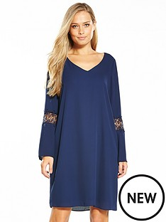 wallis-crochet-insert-shift-dress-ink