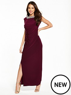 wallis-moon-trim-maxi-dress-burgundy