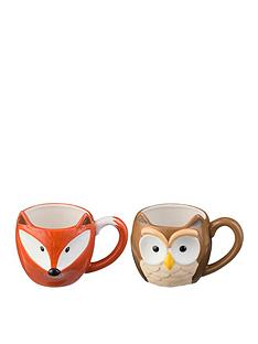 price-kensington-woodland-mugs-set-of-2-owl-and-fox