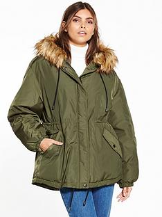 warehouse-short-drawstring-wadded-parka