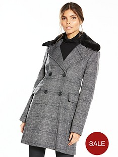 warehouse-nbspcheck-faux-fur-collar-coat