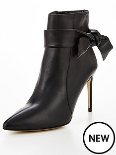 karen-millen-tie-detail-leather-ankle-boots