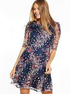 oasis-printed-puff-sleeve-lace-dress-navy