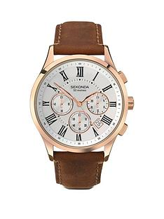 sekonda-sekonda-chronograph-style-brown-leather-strap-mens-watch