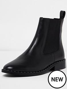 river-island-river-island-joy-studded-rand-flat-chelsea-boot-leather