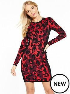 karen-millen-abstract-leopard-knit-dress