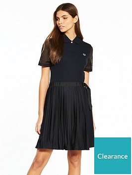fred-perry-pleated-piqueacute-dress-navy