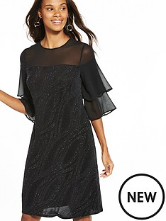 wallis-swirl-sparkle-flute-sleeve-dress