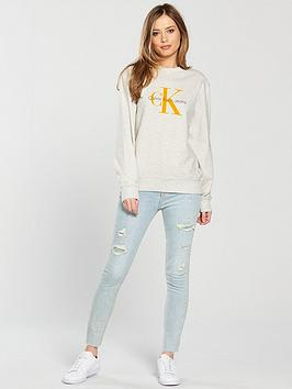 New Arrival Super Klein White Calvin Heather Icon Sweat Honora  True Top Jeans Outlet Supply DQD6K2V