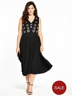 lost-ink-curve-pleated-hem-dress-with-embellishment-black