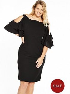 lost-ink-curve-bardot-dress-with-frill-sleeves