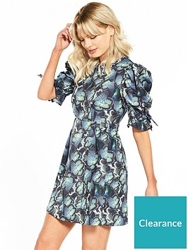 lost-ink-butterfly-print-mini-puff-sleeve-dress