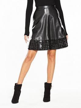 lost-ink-embellished-hem-pu-flare-skirt-black