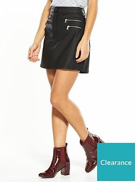 v-by-very-petite-zip-detail-coated-denim-skirt-black