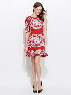 comino-couture-34-sleeve-frill-hem-embroidered-dress