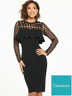 myleene-klass-lace-yoke-frill-pencil-dress-black