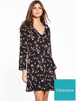 oasis-flocked-ruffle-dress
