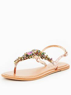 v-by-very-peachy-leather-embellished-toepost-sandal-rose-gold