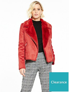river-island-red-shearling-biker-jacket