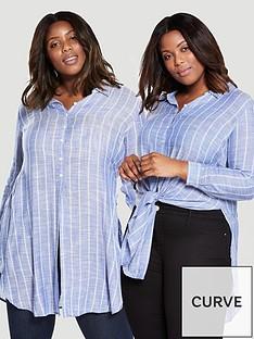 v-by-very-curve-stripe-knot-front-longline-shirt