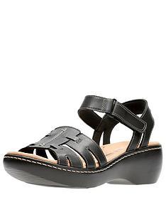 7ebb7c5bb4fa Clarks Delana Nila Low Wedge Sandal - Black