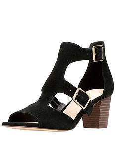 37051874f73b Clarks Deloria Kay Buckle Detail Heeled Sandal - Black