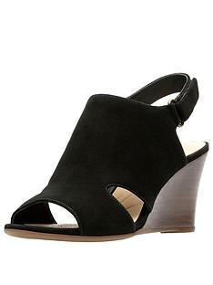 fc2fc1bf7b6e Clarks Raven Mist Wooden Heel Wedge Sandal - Black