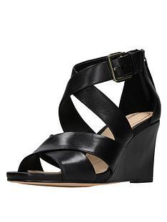 7df76853464a Clarks Ysabelle Jules Cross Strap Wedge Sandal - Black