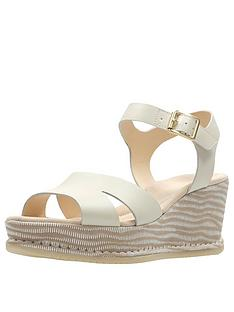 a36ad2b03165 Clarks Akilah Eden Mid Wedge Sandal - White Combi Leather