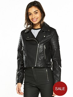 v-by-very-petite-zip-detail-pu-jacket-black