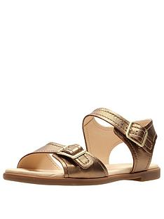 aeeaf1239cd Clarks Bay Primrose Two Strap Flat Sandal - Bronze Metallic
