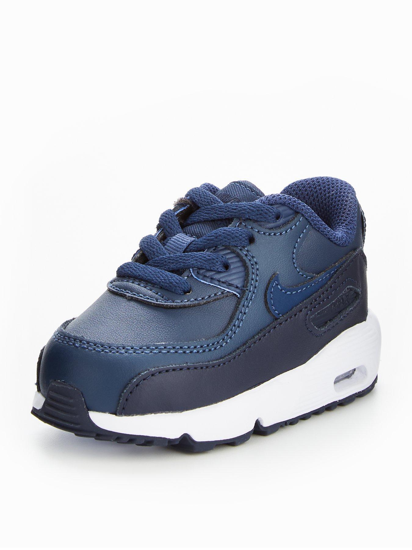 Hommes Nike Air Max 90 Formateurs Literie Noir / Bleu Foncé / Blanc
