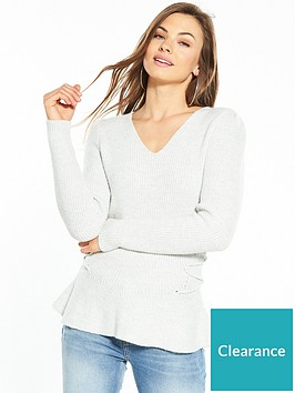 v-by-very-power-shoulder-lace-up-side-jumper-pale-grey-marl